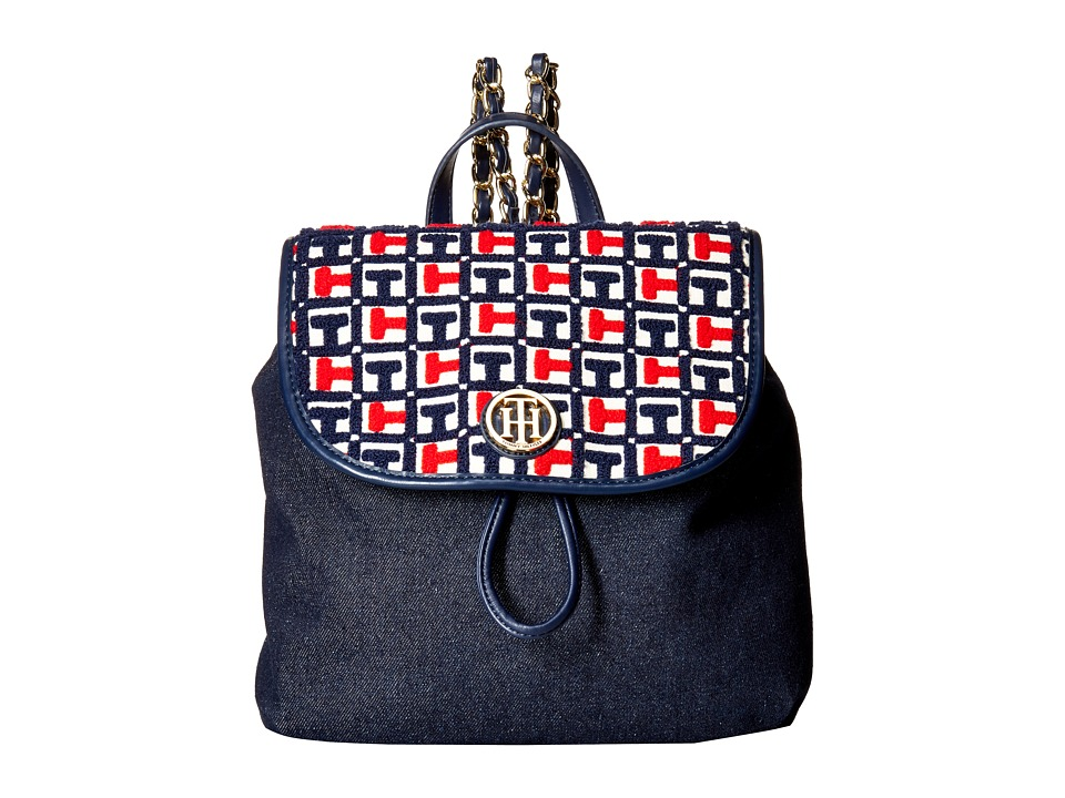 Tommy Hilfiger - Petra Terry Backpack (Navy/Red) Backpack Bags