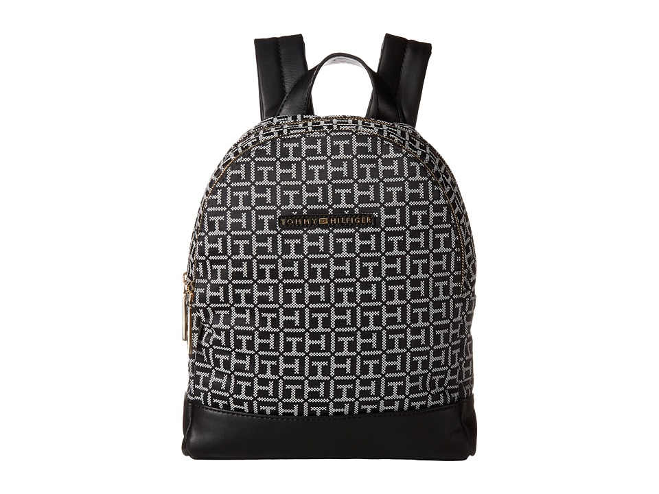 Tommy Hilfiger - Pauletta Jacquard Backpack (Black/White) Backpack Bags
