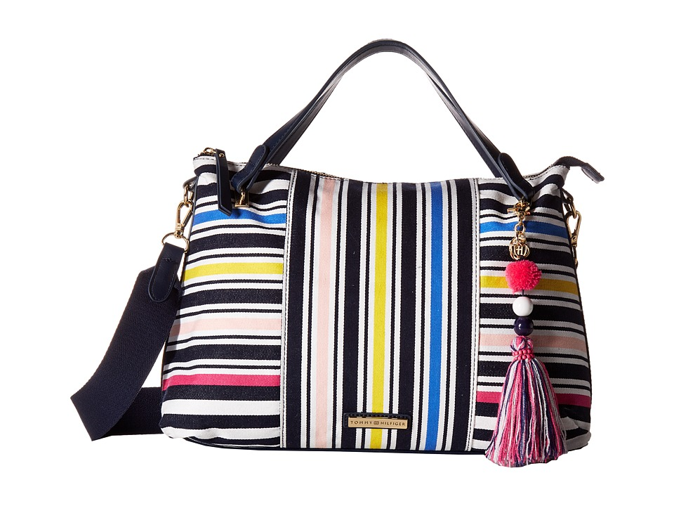 Tommy Hilfiger - Adelina Stripe Convertible Satchel (Marina/Multi) Satchel Handbags