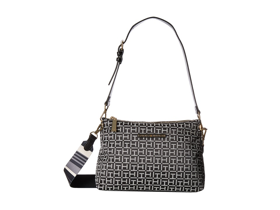 Tommy Hilfiger - Pauletta Jacquard Hobo (Black/White) Hobo Handbags