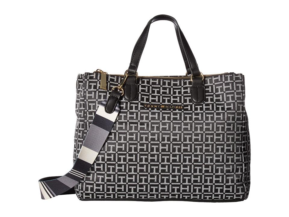 Tommy Hilfiger - Pauletta Jacquard Shopper (Black/White) Handbags