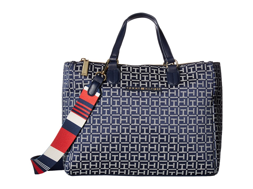 Tommy Hilfiger - Pauletta Jacquard Shopper (Navy/White) Handbags