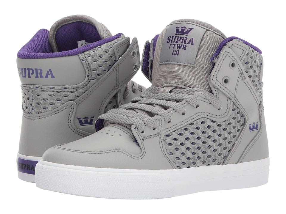 Supra Kids Vaider (Little Kid/Big Kid) (Light Grey/Purple/White) Boys Shoes