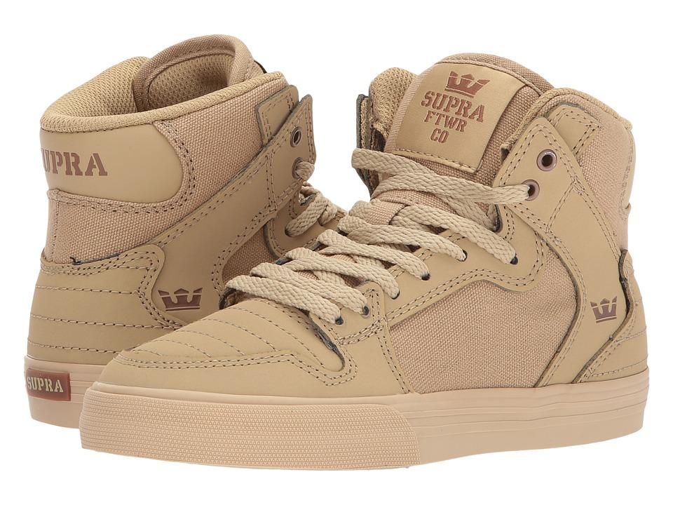 Supra Kids Vaider (Little Kid/Big Kid) (Khaki/Gum) Boys Shoes