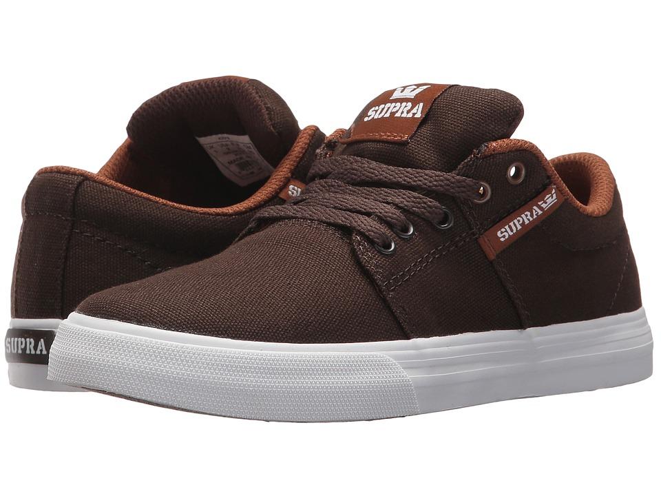 Supra Kids Stacks Vulc II (Little Kid/Big Kid) (Demitasse/White) Boys Shoes