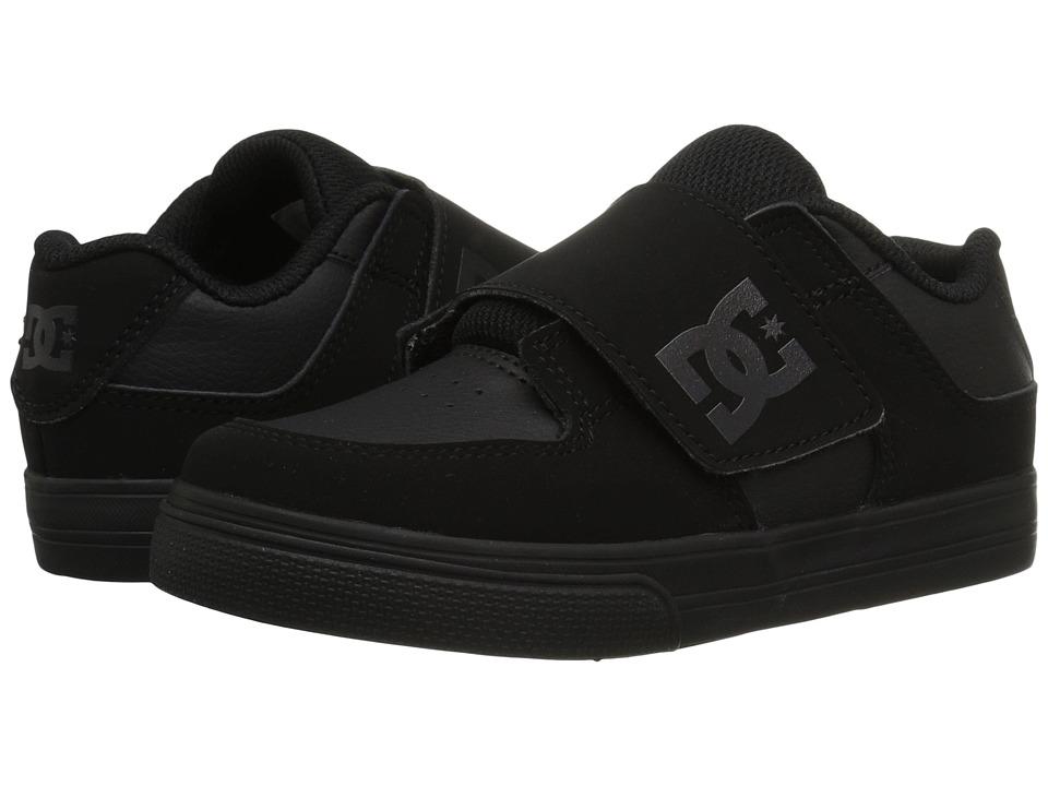 DC Kids Pure V II (Toddler) (Black/Black/Black) Boys Shoes