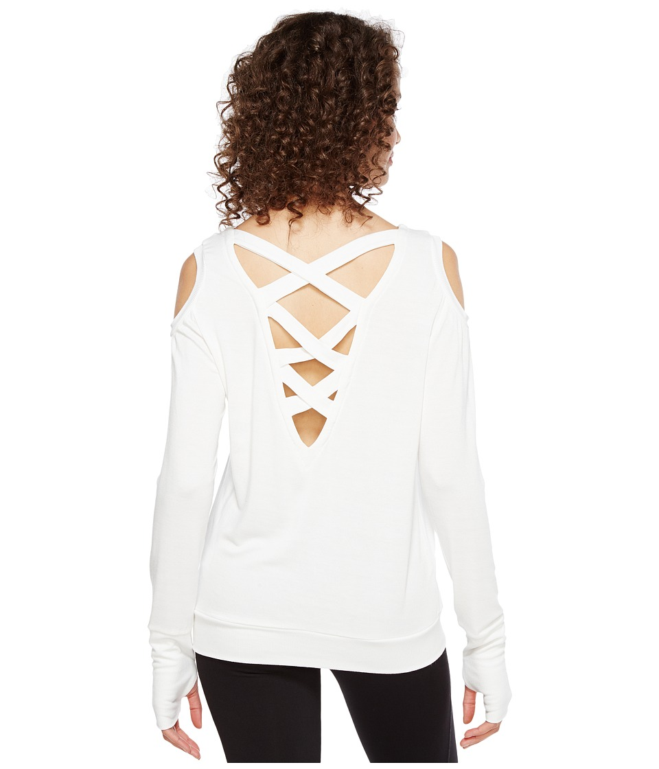 Trina Turk - Bamboo Terry Long Sleeve Cold Shoulder (White) Women's Clothing