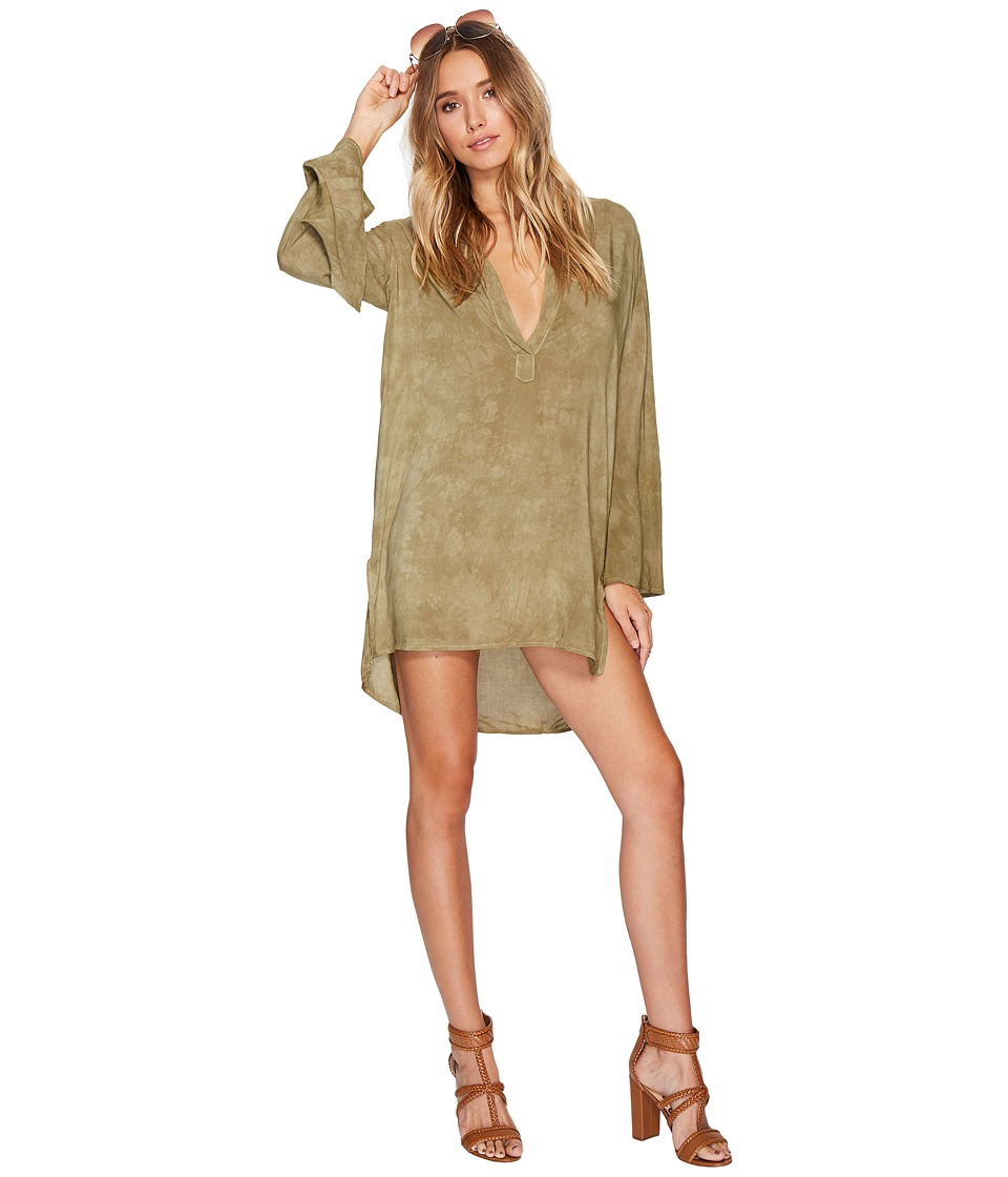 Blue Life - Boho Sleeve Shirt Dress (Spanish Olive) Women's Dress