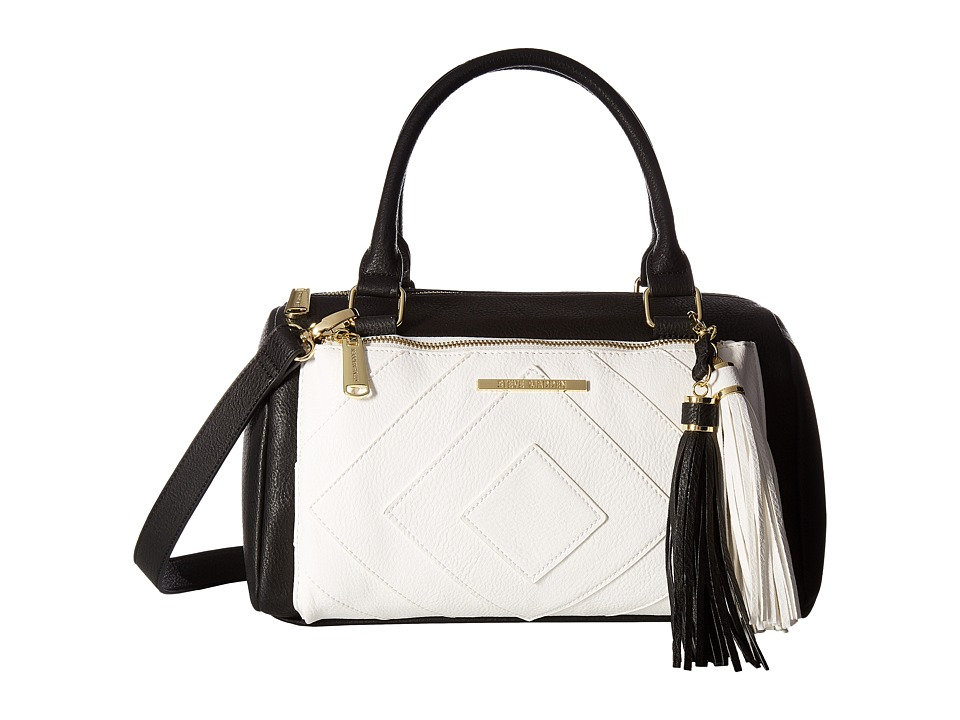 Steve Madden - Blizzy Barrel Satchel (Black/White) Satchel Handbags