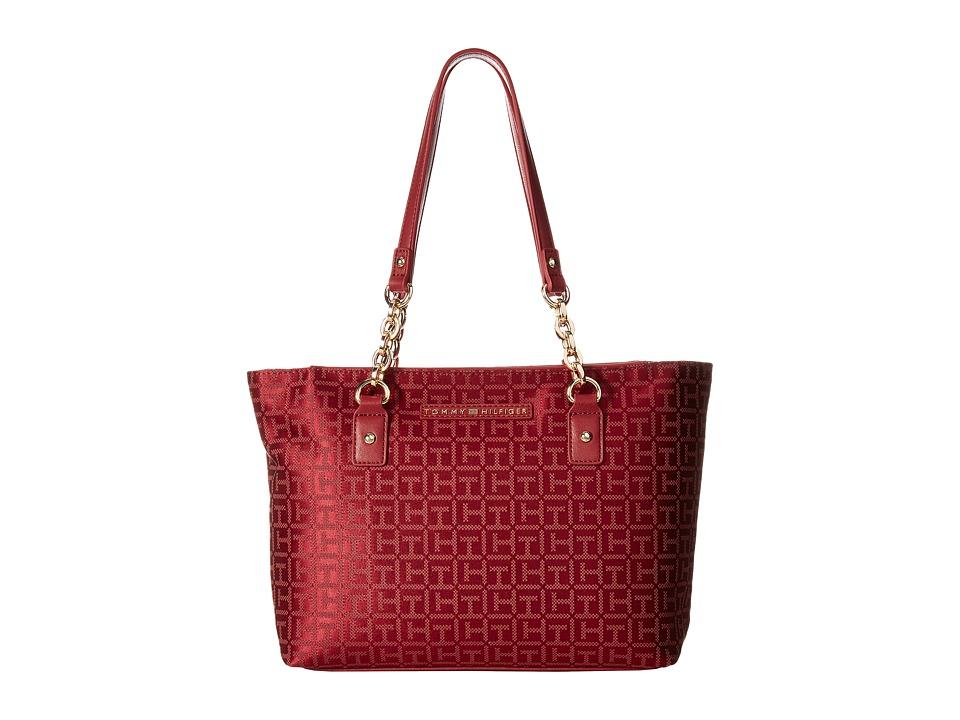 Tommy Hilfiger - Eloise Shopper Monogram Jacquard (Dark Cherry Tonal) Handbags