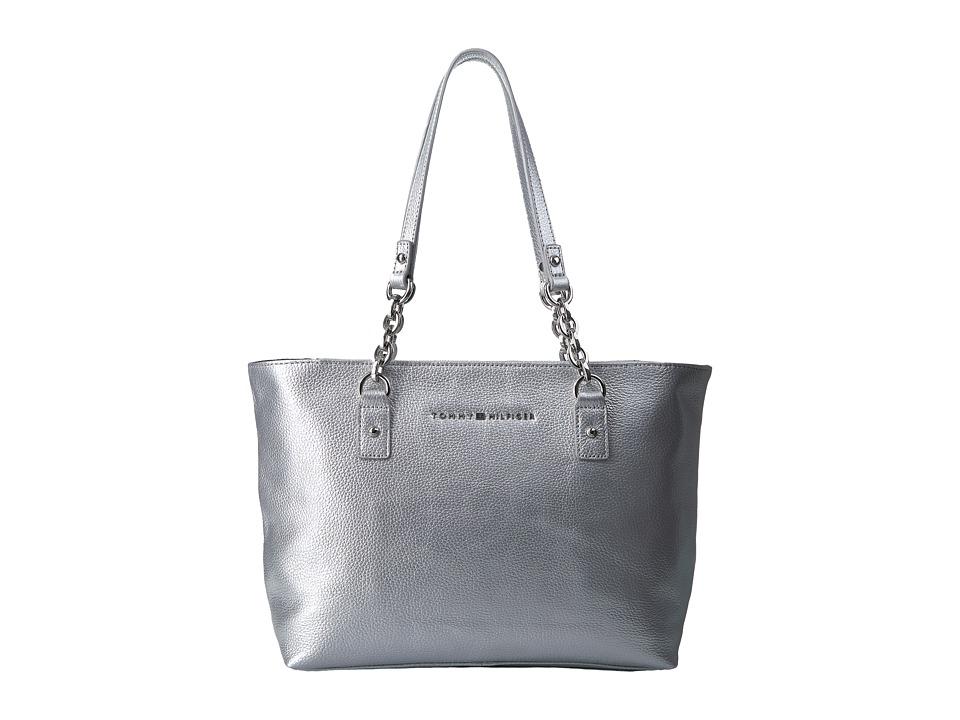 Tommy Hilfiger - Eloise Shopper Pebble Leather (Silver) Handbags
