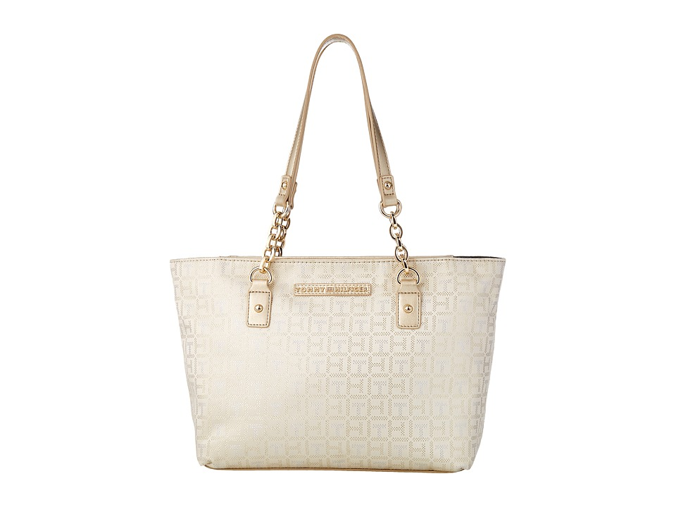 Tommy Hilfiger - Eloise Shopper Monogram Jacquard (Gold/Silver) Handbags