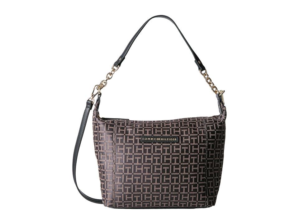 Tommy Hilfiger - Eloise Hobo Crossbody Monogram Jacquard (Black/Dark Pepper) Cross Body Handbags