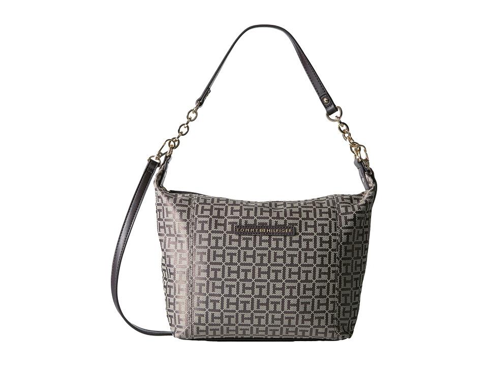 Tommy Hilfiger - Eloise Hobo Crossbody Monogram Jacquard (Tan/Dark Chocolate) Cross Body Handbags