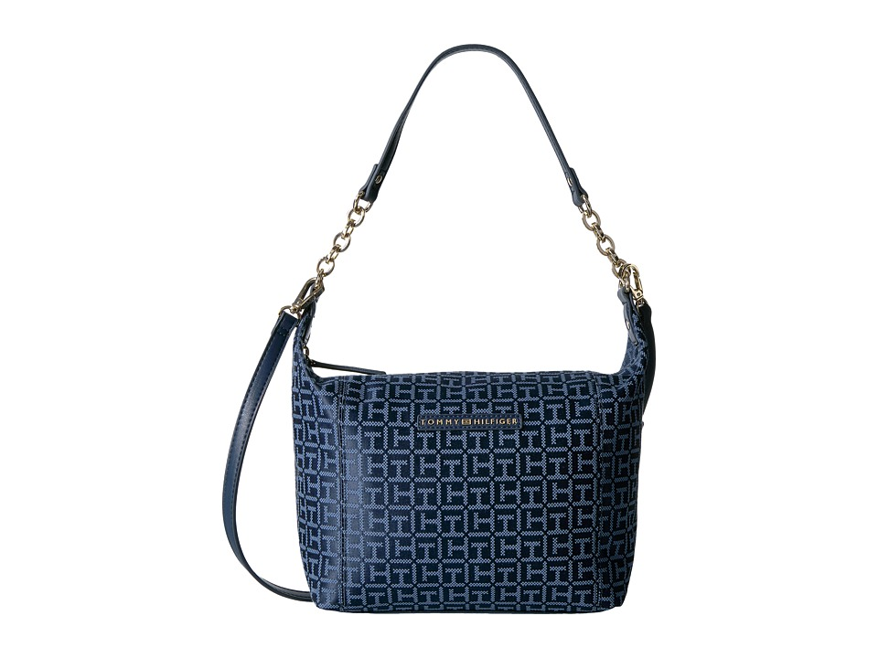 Tommy Hilfiger - Eloise Hobo Crossbody Monogram Jacquard (Navy/Lapis) Cross Body Handbags