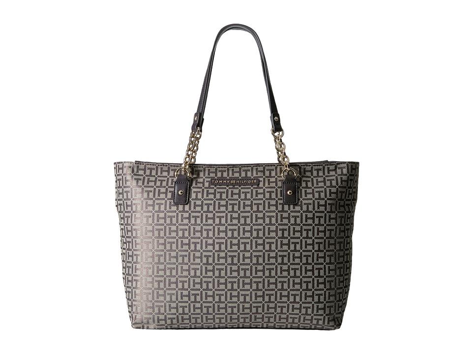 Tommy Hilfiger - Eloise Tote Monogram Jacquard (Tan/Dark Chocolate) Tote Handbags