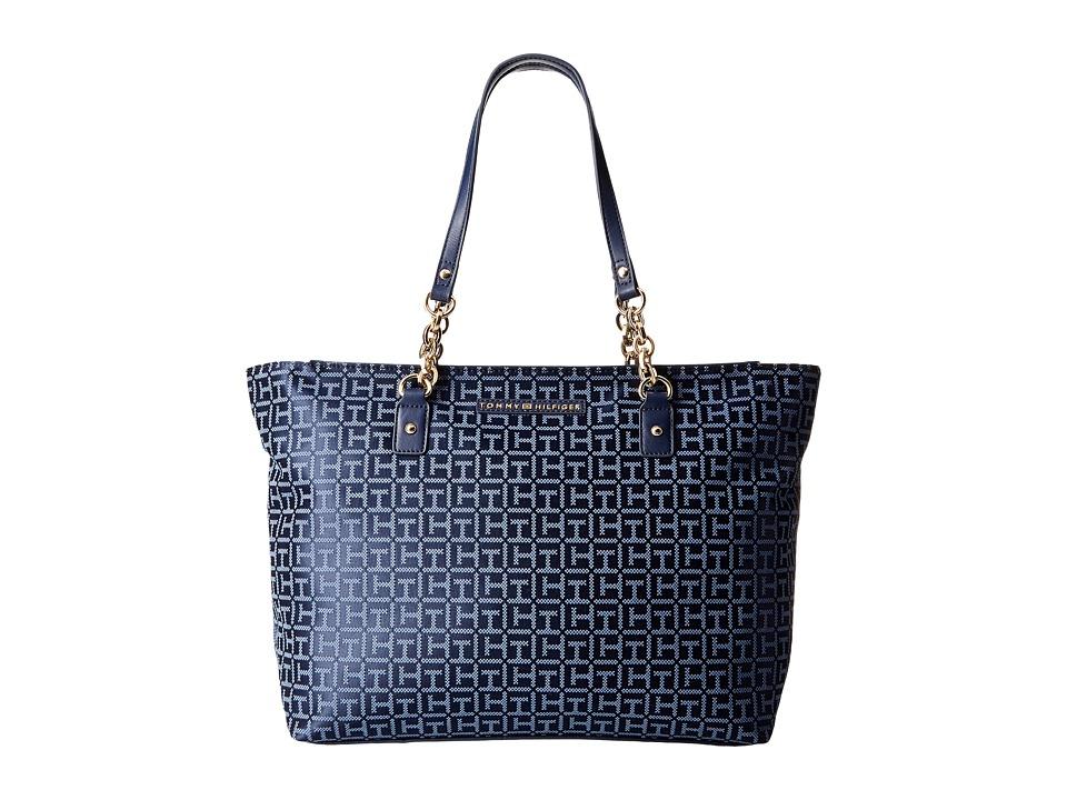 Tommy Hilfiger - Eloise Tote Monogram Jacquard (Navy/Lapis) Tote Handbags