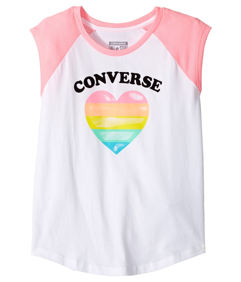 Converse Kids - I Heart Raglan Tee (Big Kids) (Pink Glow Print) Girl's T Shirt