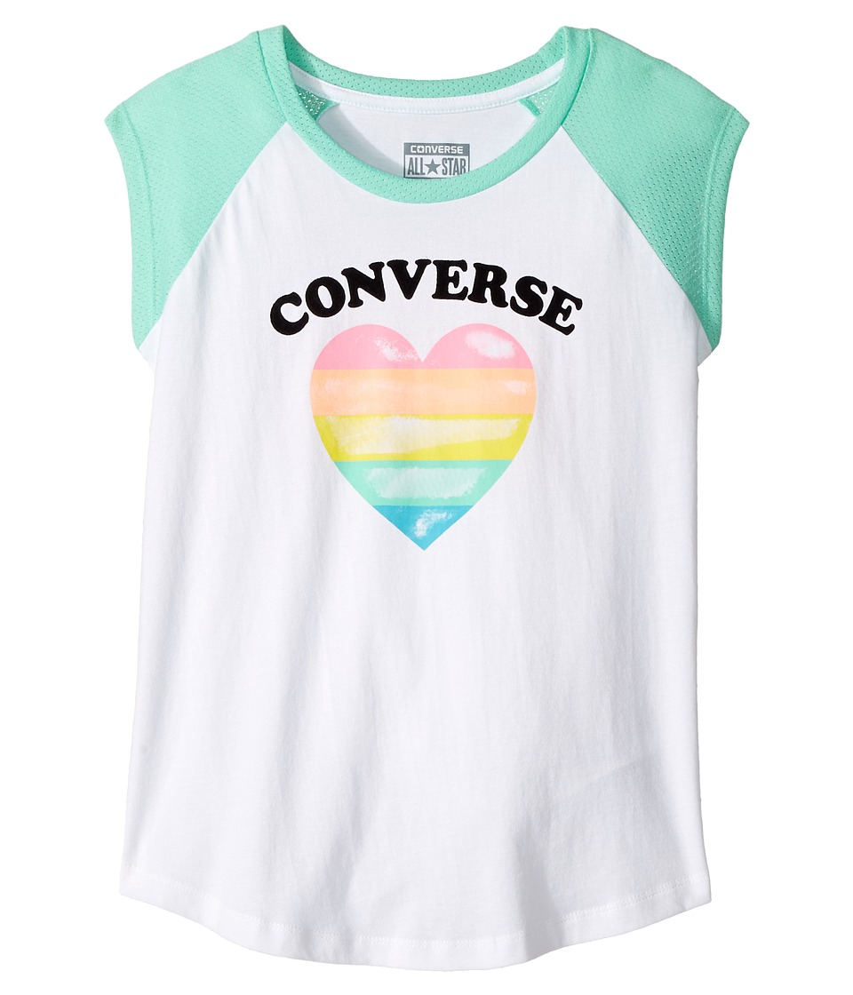 Converse Kids - I Heart Raglan Tee (Big Kids) (Green Glow) Girl's T Shirt