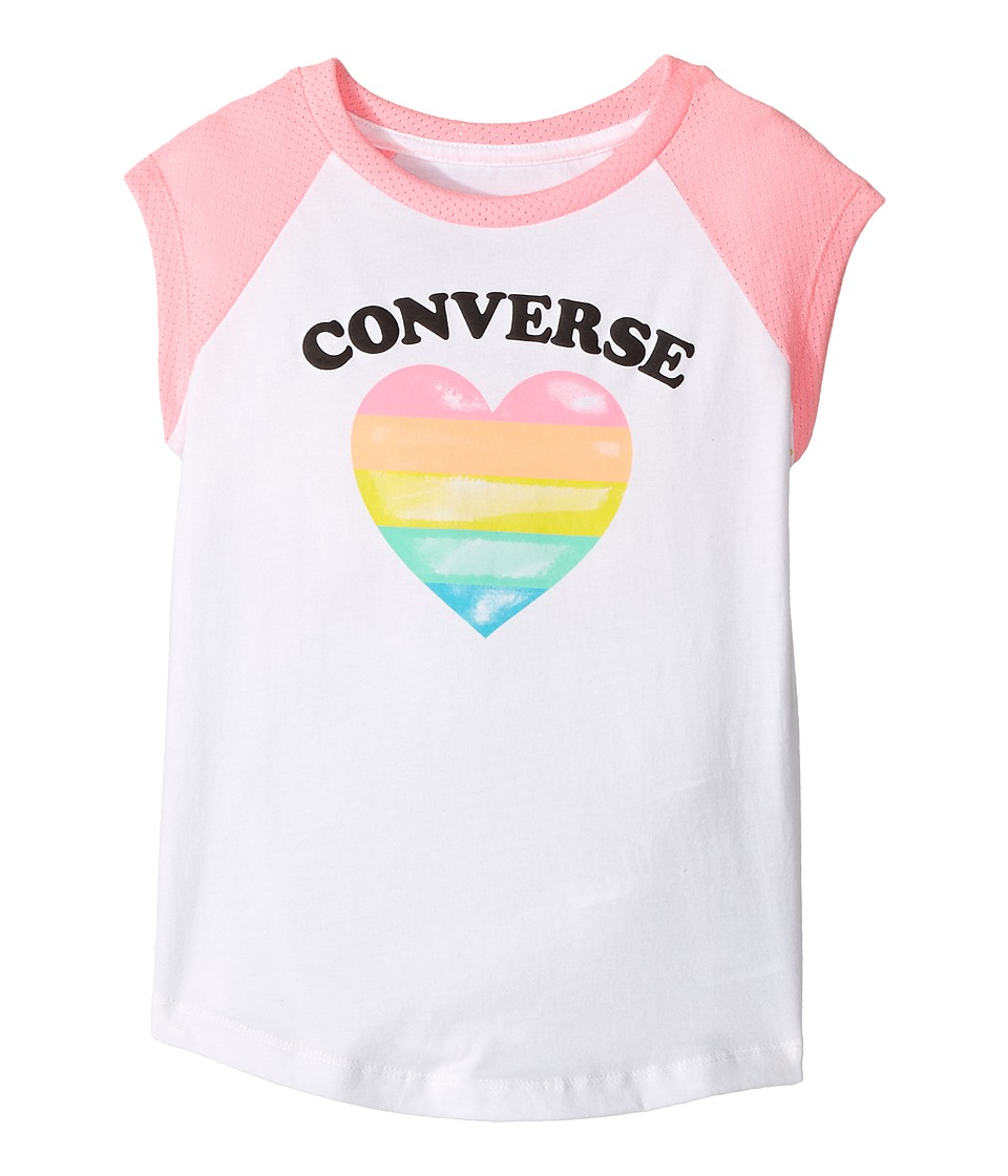 Converse Kids - I Heart Raglan Tee (Little Kids) (Pink Glow Print) Girl's T Shirt