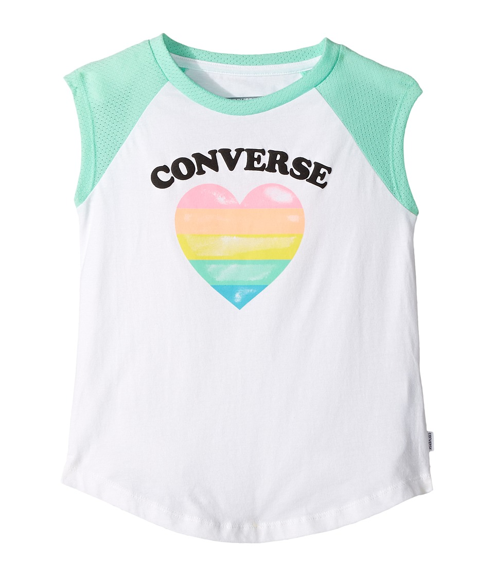 Converse Kids - I Heart Raglan Tee (Little Kids) (Green Glow) Girl's T Shirt