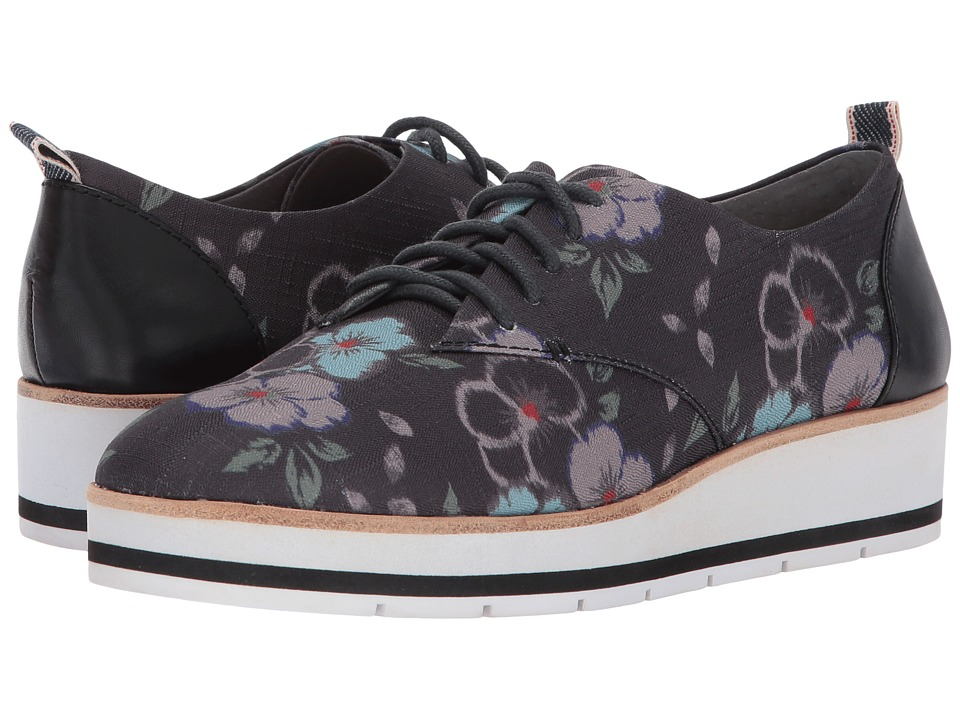 ED Ellen DeGeneres - Oberlin (Floral Ikat/Black/Blue Multi Fabric/Leather) Women's Shoes