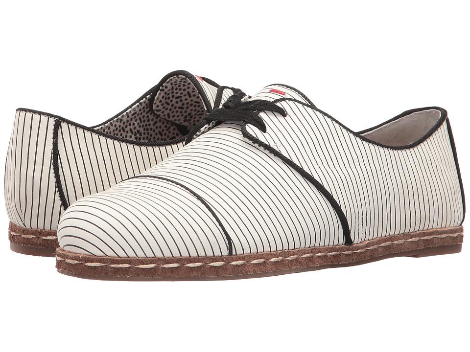 ED Ellen DeGeneres - Noram (Black/White/Black Brighton Stripe Leather) Women's Shoes