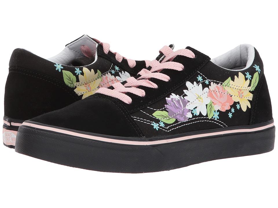 Vans Kids Old Skool (Little Kid/Big Kid) ((Flower Crown) Black/English Rose) Girl