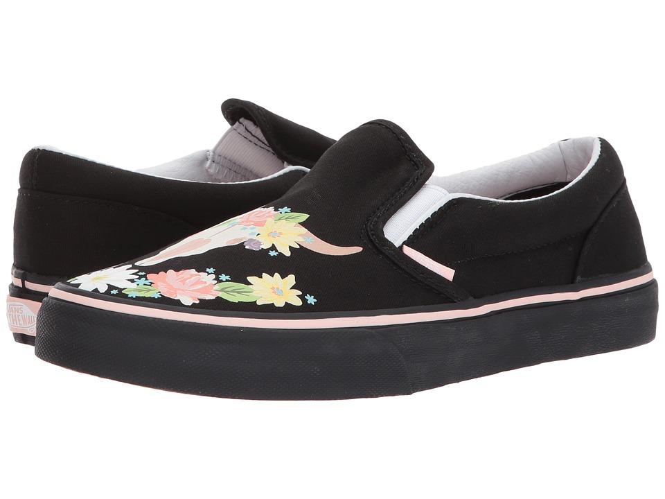 Vans Kids Classic Slip-On (Little Kid/Big Kid) ((Flower Crown) Black/English Rose) Girl