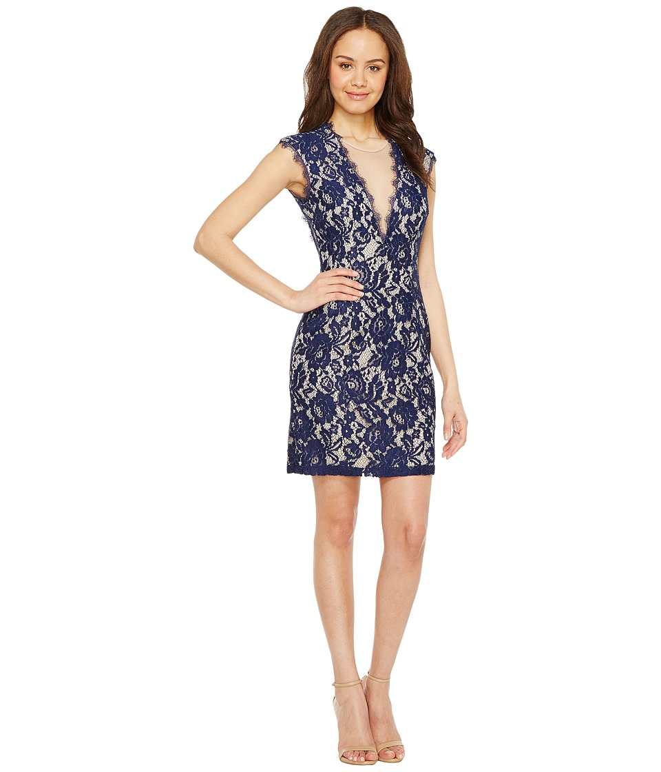 Aidan Mattox - Cap Sleeve Stretch Lace Cocktail Dress (Navy/Nude) Women's Dress