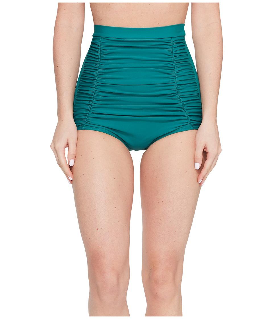 Unique Vintage - Monroe High Waisted Swim Bottoms (Emerald Green) Women's Swimwear