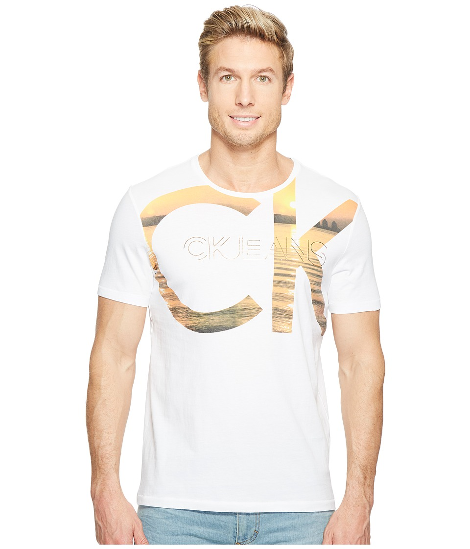 Calvin Klein Jeans Sunset Short Sleeve CK Logo Tee (Orange Marigold) Men