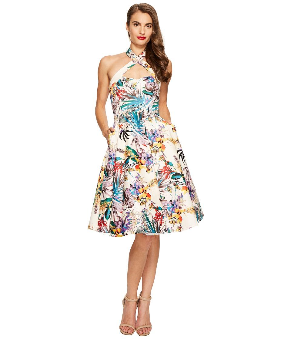 Unique Vintage - Rita Cross Neck Swing Dress (Cream Floral) Women's Dress