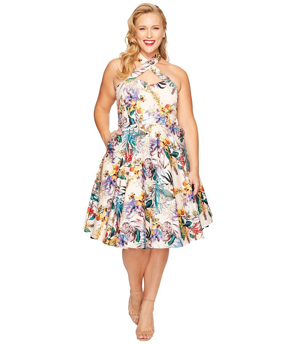 Unique Vintage - Plus Size Rita Cross Neck Swing Dress (Cream Floral) Women's Dress