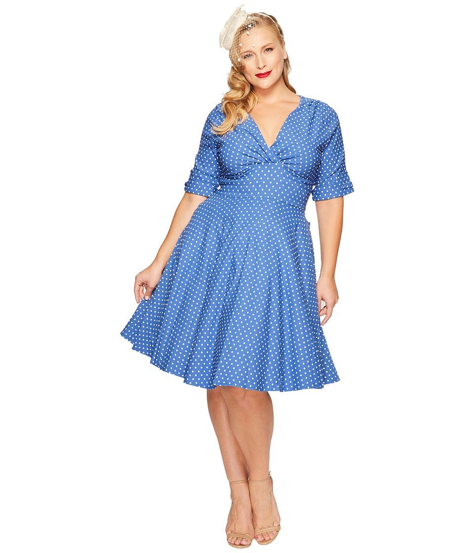 Unique Vintage - Plus Size Delores Dress (Blue/White Dot) Women's Dress
