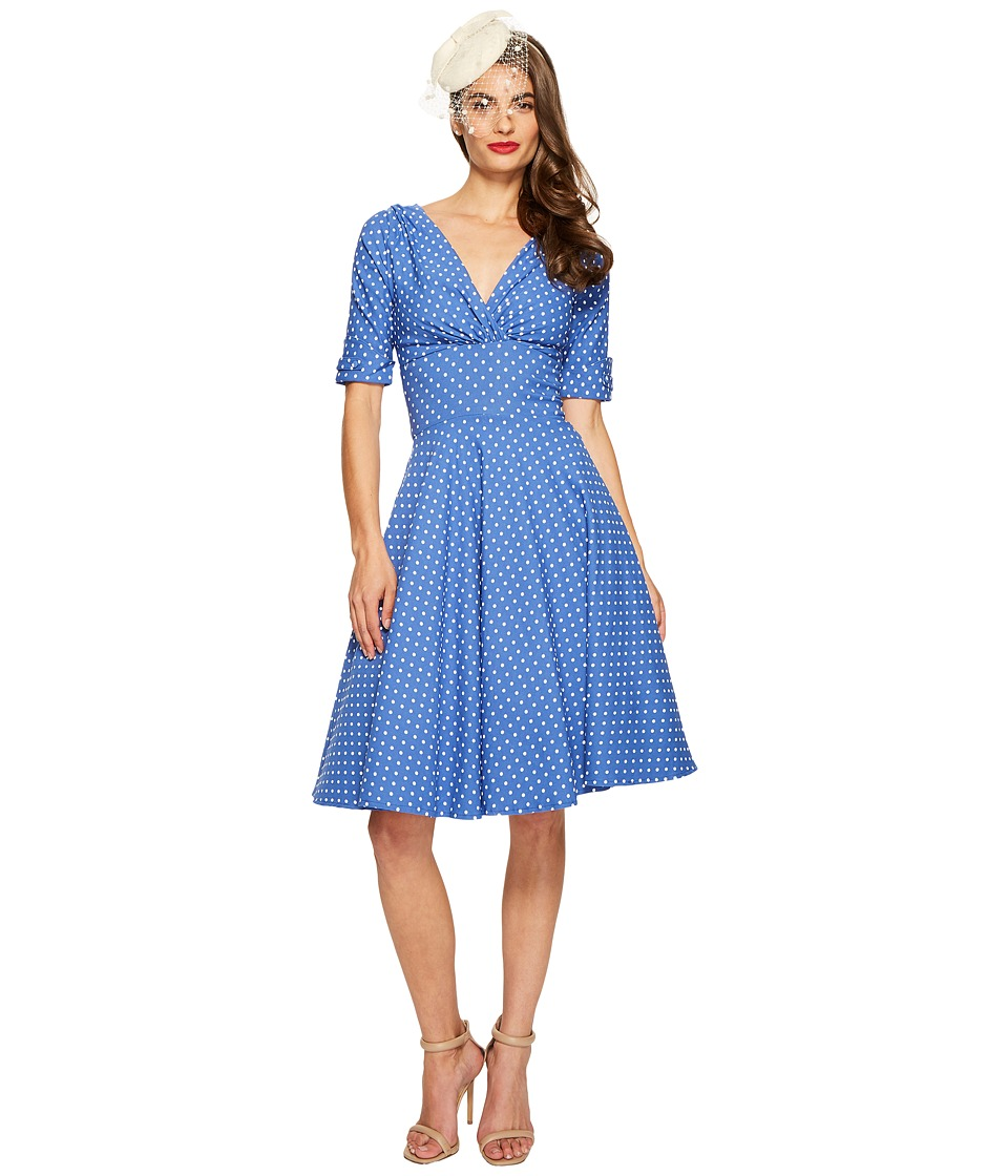 Unique Vintage - Delores Dress (Blue/White Dot) Women's Dress