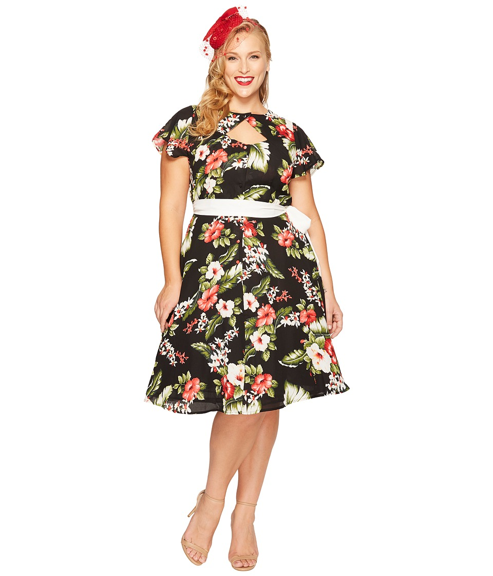 Unique Vintage - Plus Size Ashcroft Dress (Black Floral) Women's Dress