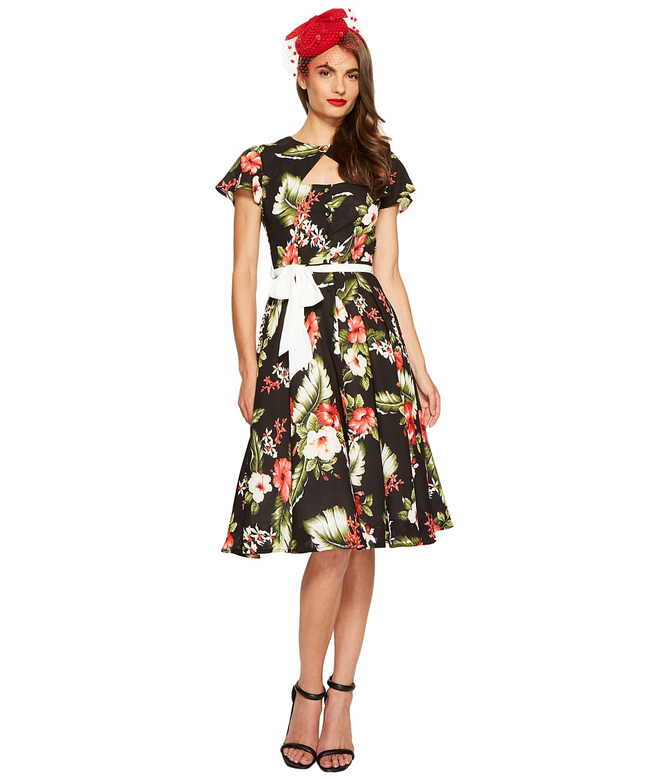 Unique Vintage - Ashcroft Dress (Black Floral) Women's Dress