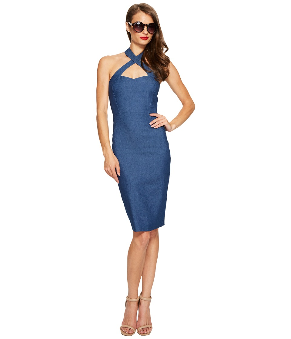 Unique Vintage Fitted Pencil Dress (Denim) Women