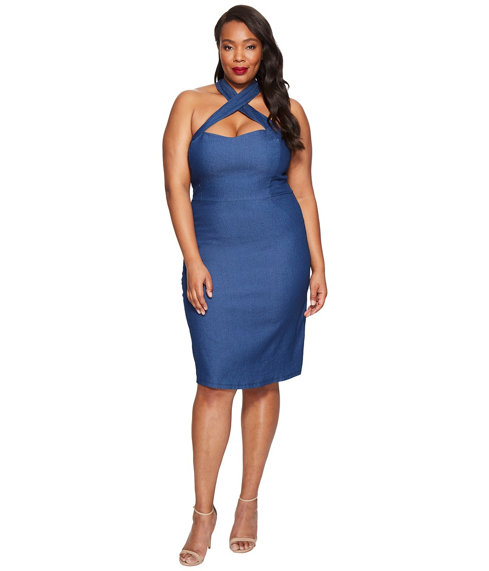Unique Vintage - Plus Size Fitted Pencil Dress (Denim) Women's Dress