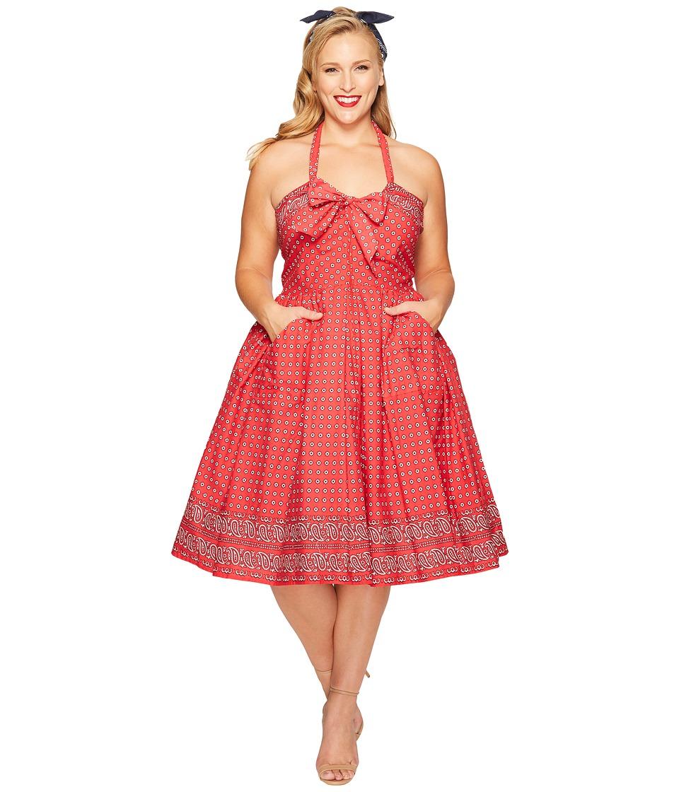 Unique Vintage - Plus Size Paisley Print Dress (Red) Women's Dress