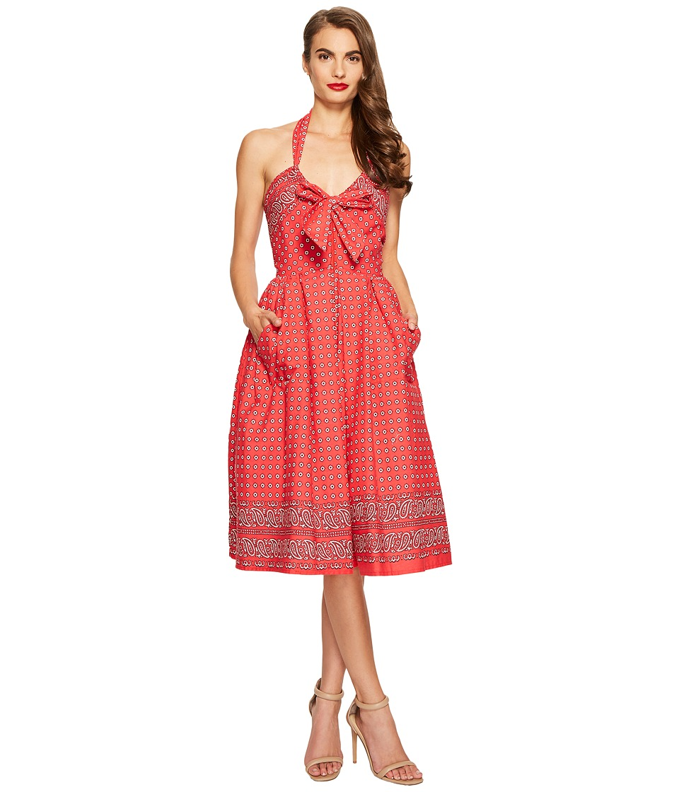 Unique Vintage - Paisley Print Dress (Red) Women's Dress