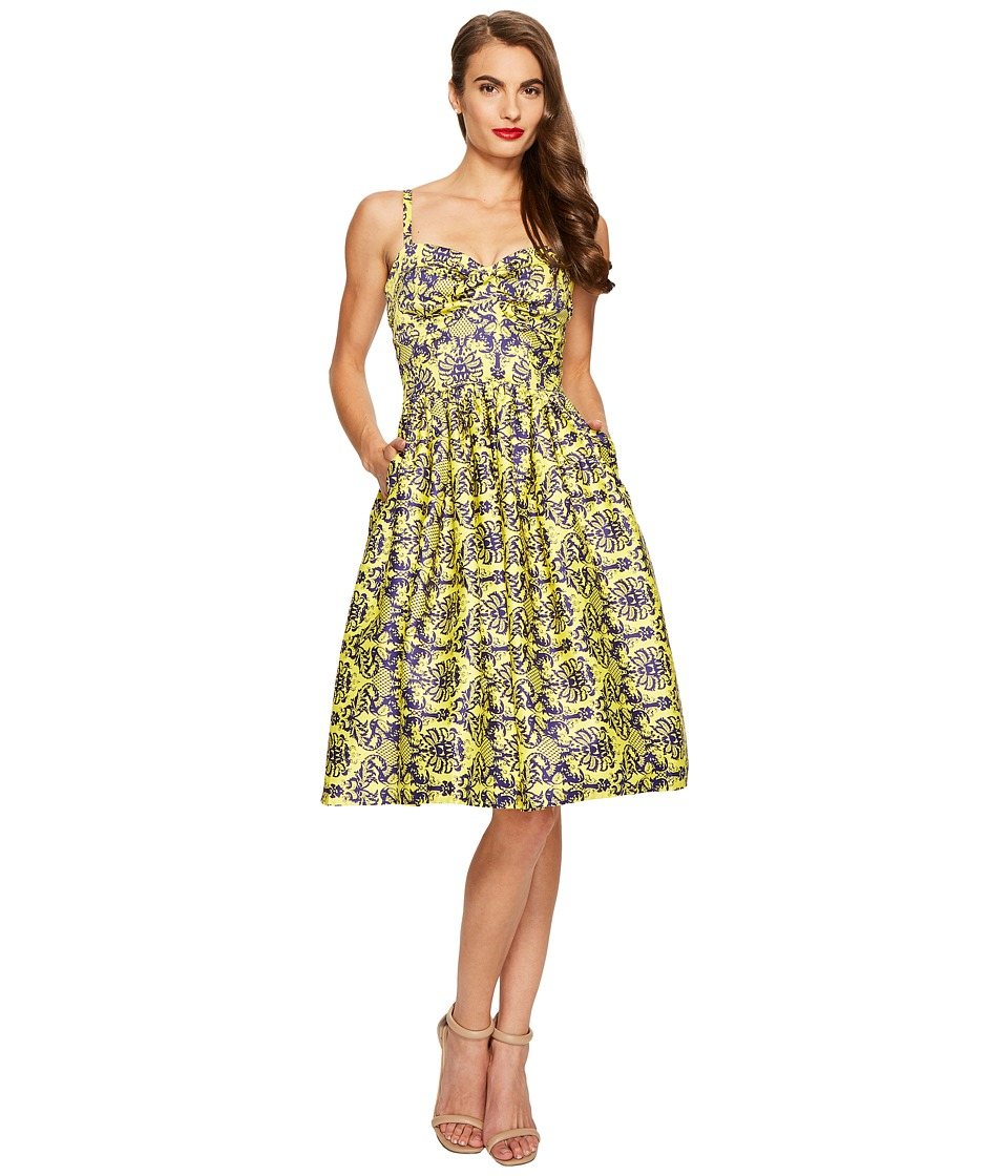 Unique Vintage - Damask Golightly Dress (Yellow) Women's Dress