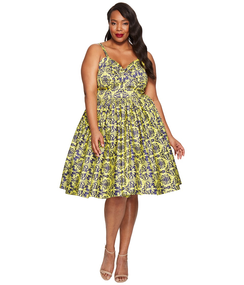 Unique Vintage - Plus Size Damask Golightly Dress (Yellow) Women's Dress