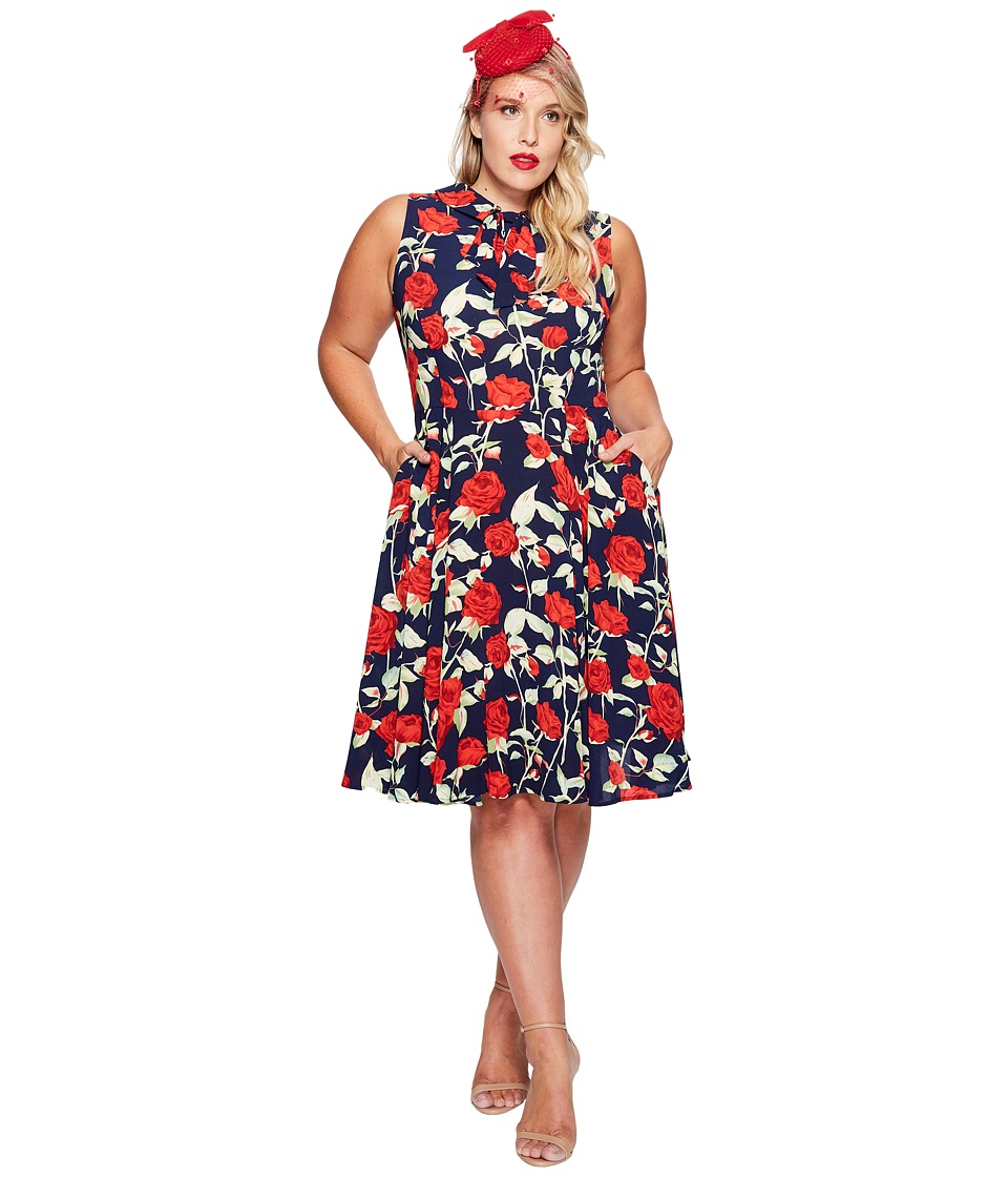 Unique Vintage - Plus Size High Neck Sleeveless Dress (Navy Floral) Women's Dress