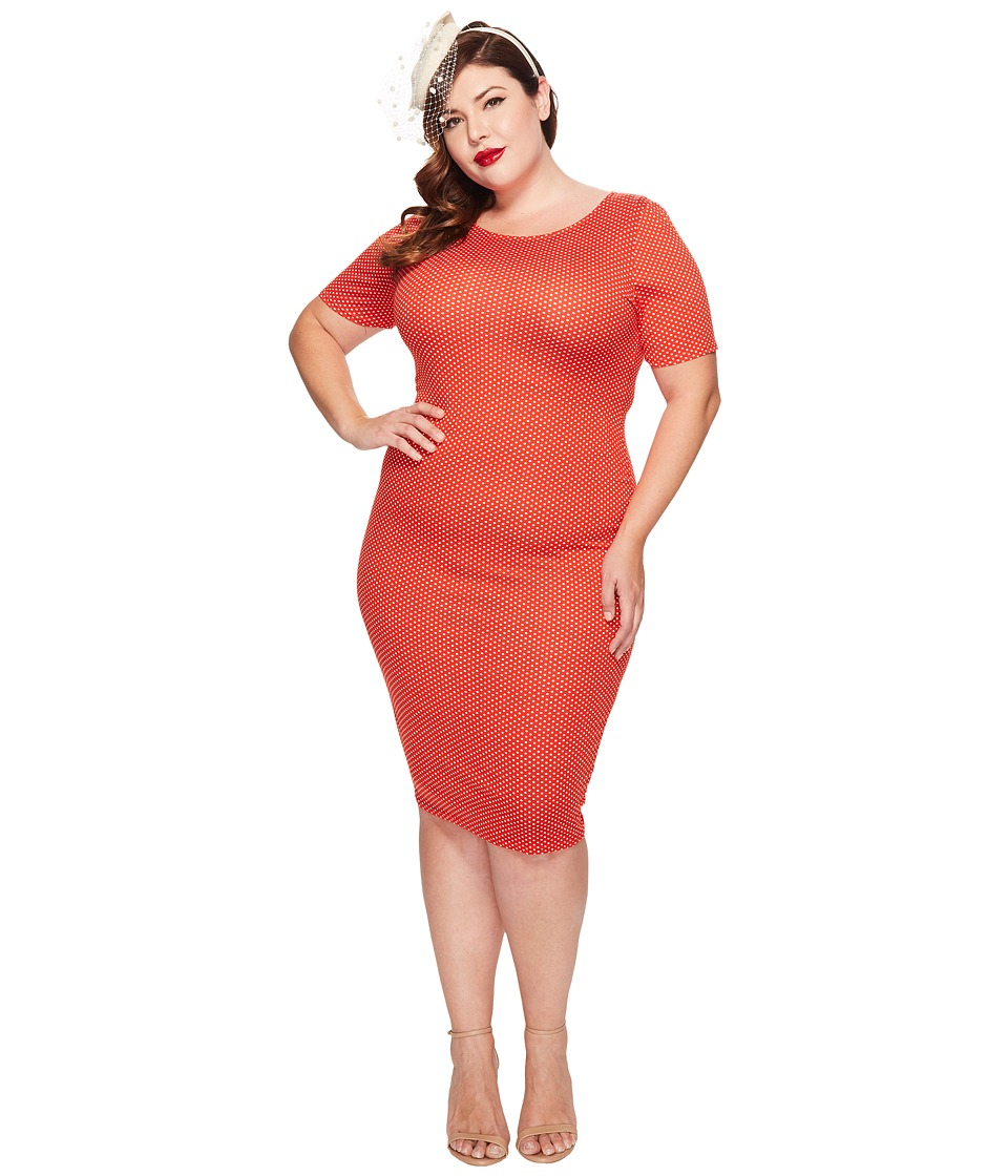 Unique Vintage - Plus Size Fitted Wiggle Dress (Red Pin Dot) Women's Dress