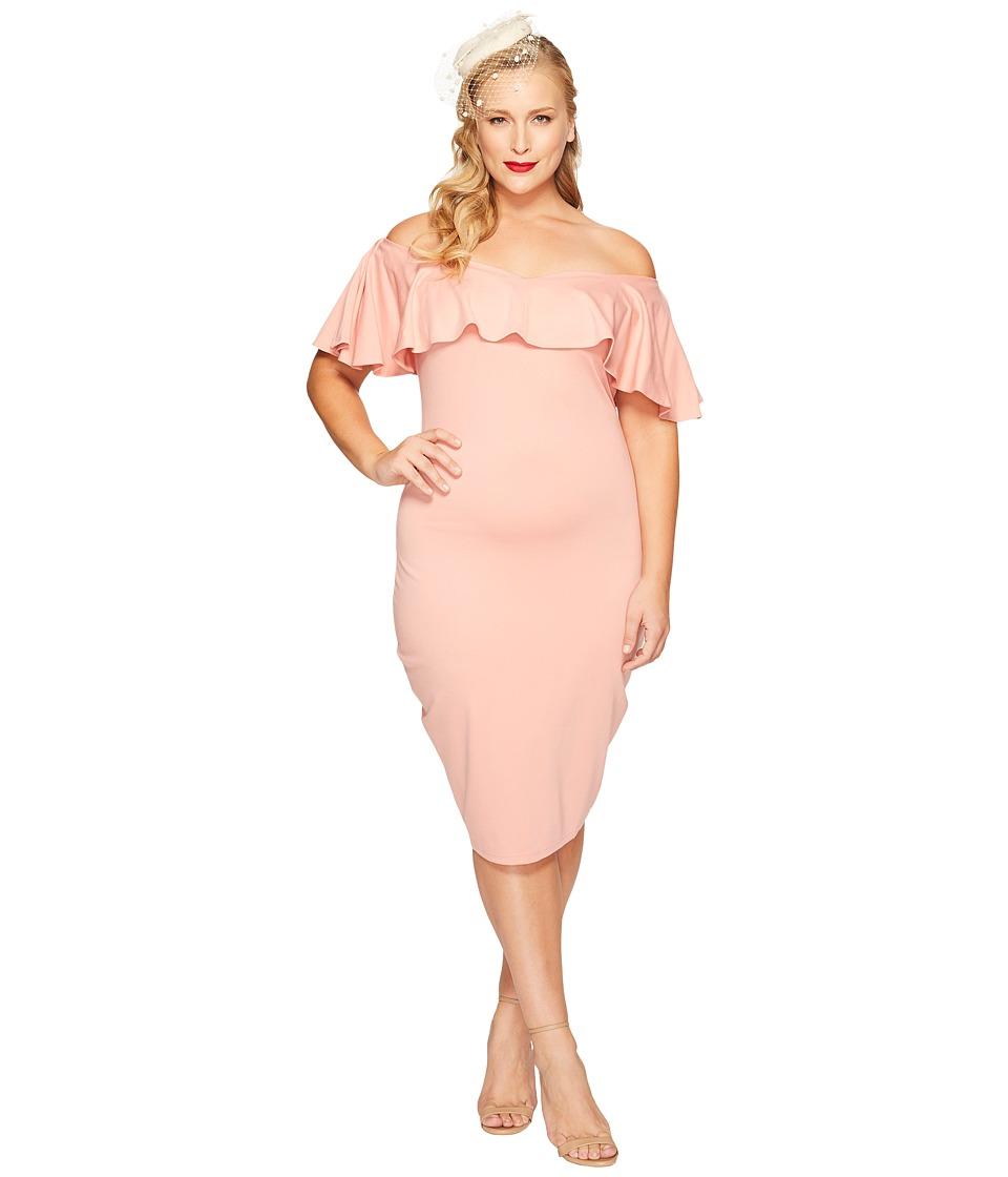 Unique Vintage - Plus Size Ruffled Dress (Rose) Women's Dress
