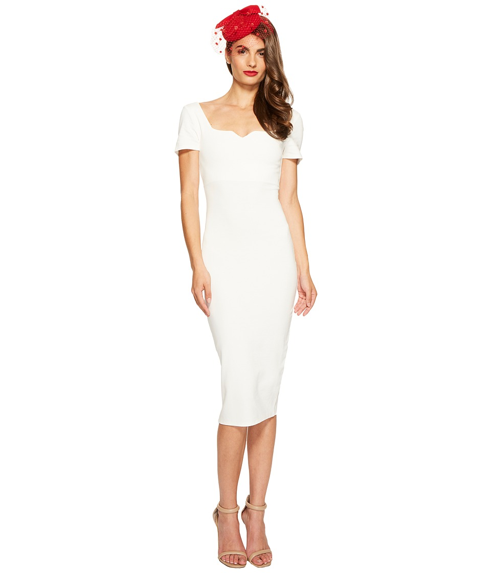 Unique Vintage - Knit Pencil Dress (Ivory) Women's Dress