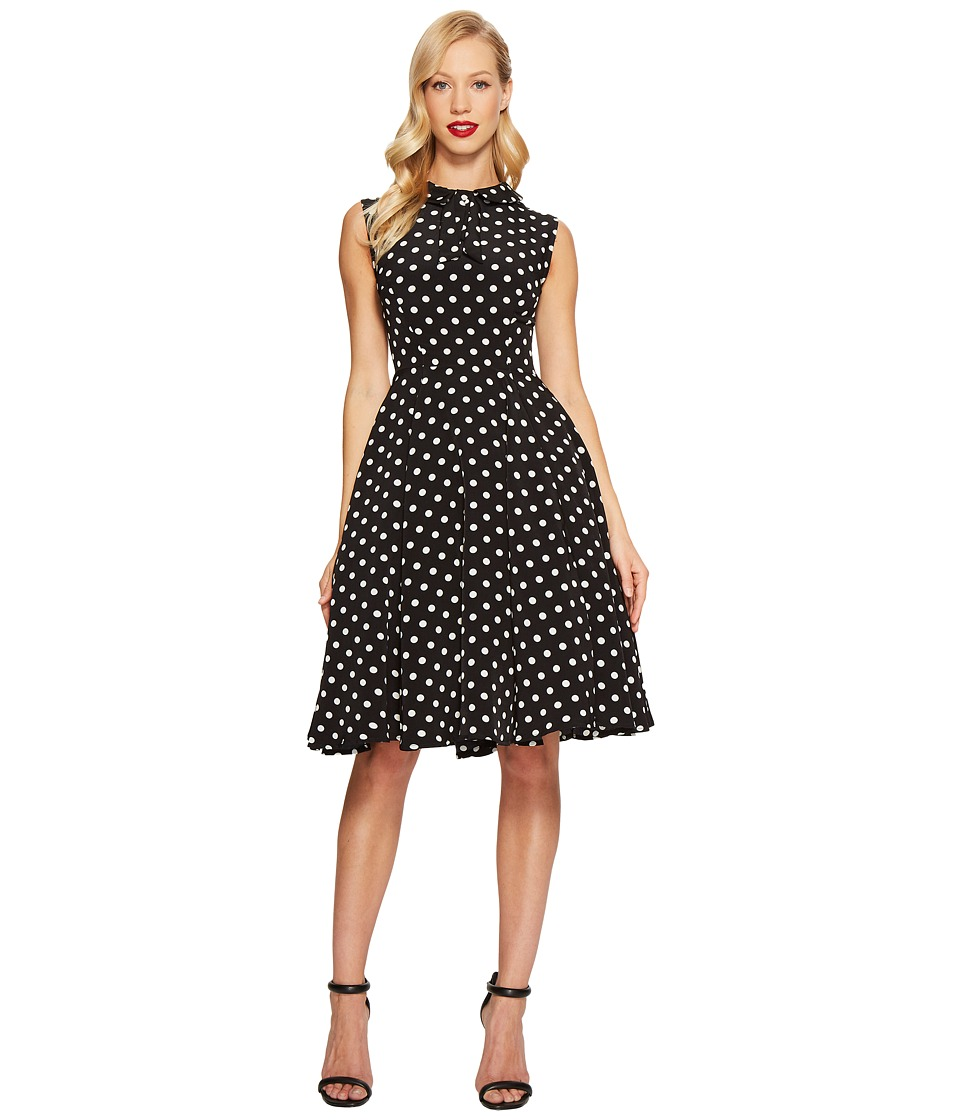 Unique Vintage - Tie Neck Dress (Black/White Dots) Women's Dress