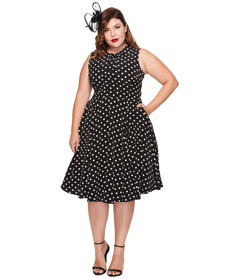 Unique Vintage - Plus Size Tie Neck Dress (Black/White Dots) Women's Dress